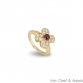 Van Cleef & Arpels Yellow Gold Ruby & Diamond Trefle Ring